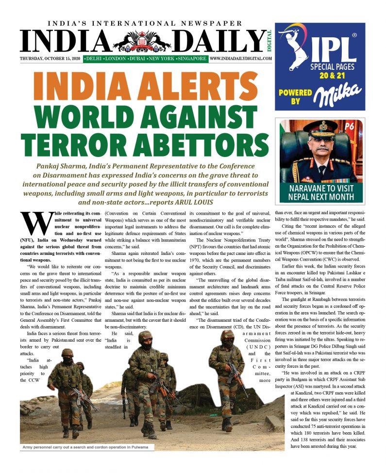 INDIA DD – Oct 15, 2020