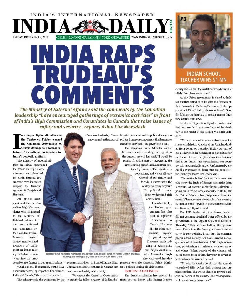 INDIA DD – Dec 4, 2020