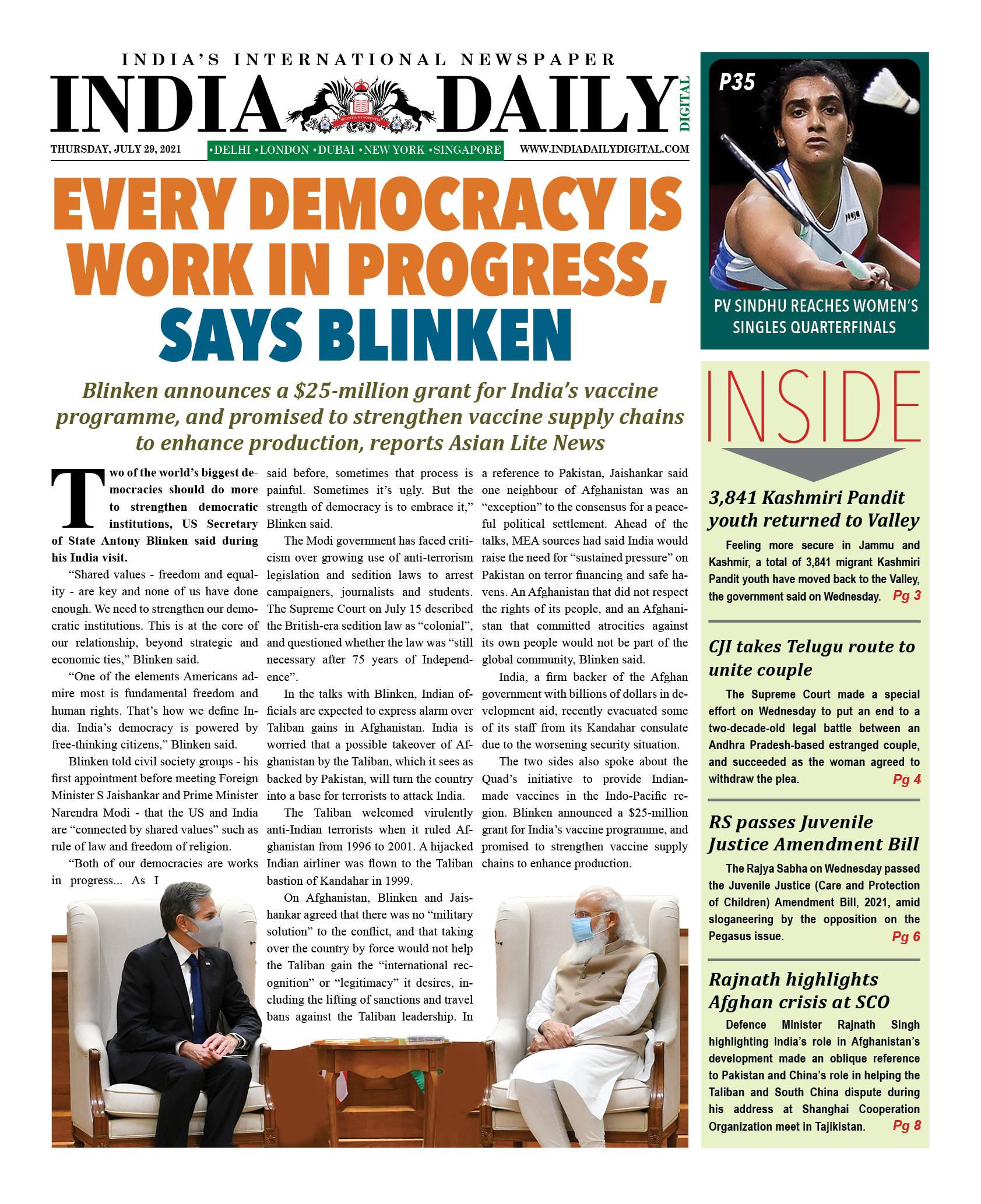 INDIA DD – July 29, 2021
