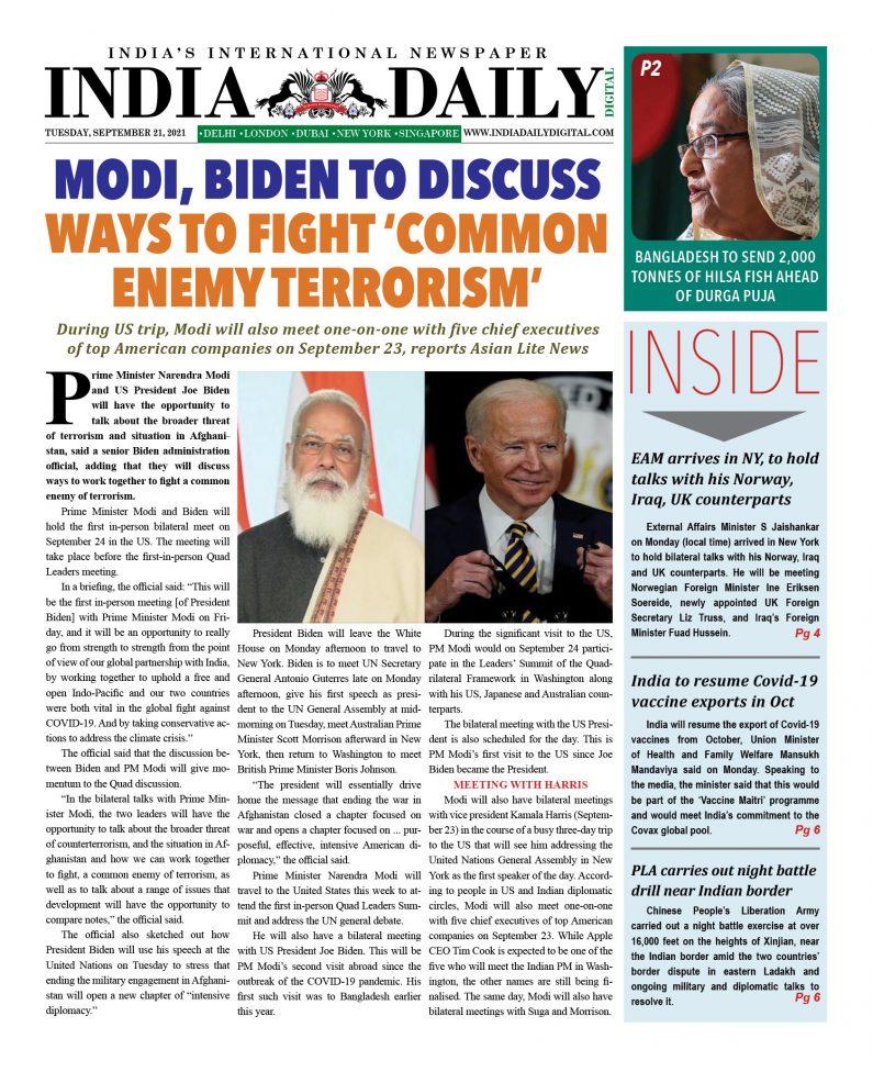 INDIA DD – September 21, 2021